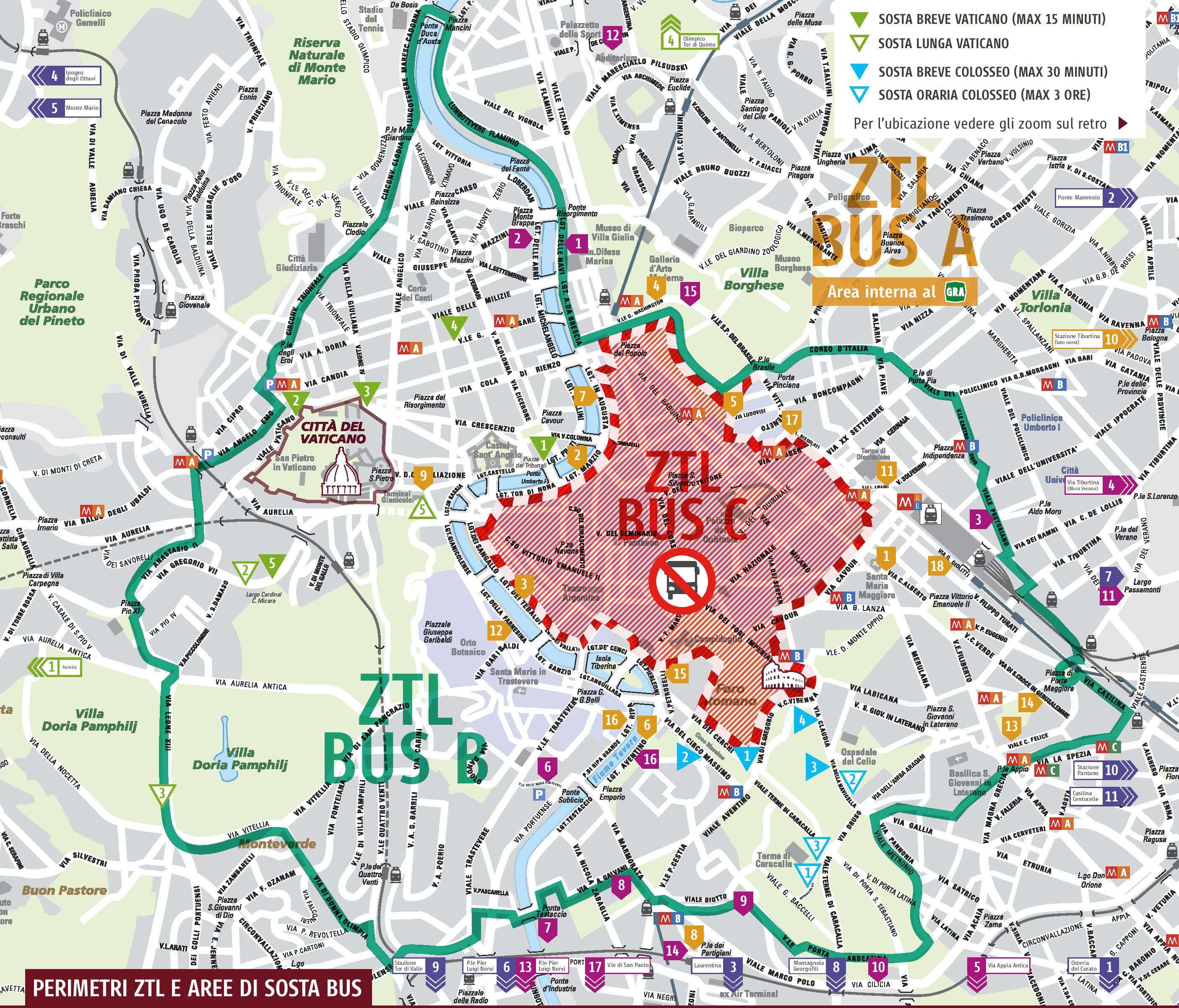 Cartina Roma Turistica.Normativa 2019 E Tariffe Ztl Bus Turistici Roma